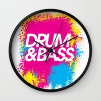 drum Wall Clocks featuring Drum & Bass by DropBass