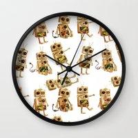 robots Wall Clocks featuring robots by Lara Paulussen