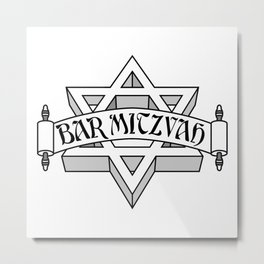 Bar Mitzvah with silver scroll &  Star of David  Metal Print
