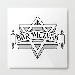 Bar Mitzvah with silver scroll &  Star of David  Metal Print