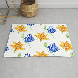 Columbine and Lily Hand Painted Diagonally Repeating Floral Pattern Rug