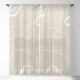 LINEE DI VITA - The lines of life - Modern abstract art hand drawn Sheer Curtain