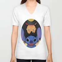 lilo and stitch V-neck T-shirts featuring Lilo & Stitch by Ashleigh Jane