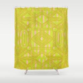 vintage kantha: chartreuse Shower Curtain