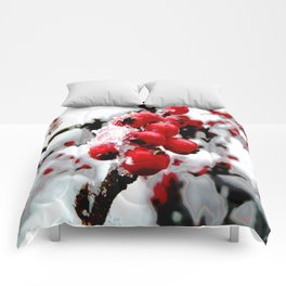 Bright Red Berries Comforters