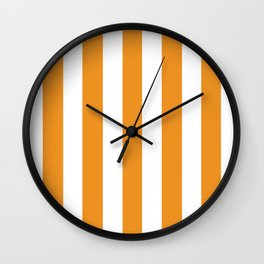 Carrot orange - solid color - white vertical lines pattern Wall Clock