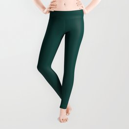 Solid Color Pantone Forest Biome 19-5230 Green Leggings
