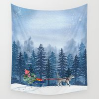 fairytale Wall Tapestries featuring Winter Fairytale by Liuba Draws