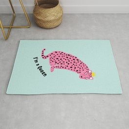 I'm a gueen - pink leopard Rug