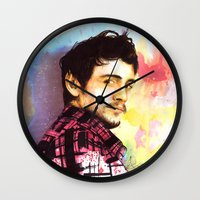 james franco Wall Clocks featuring James Franco by Anguiano Art