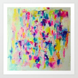 Bright, Neon, Colorful Abstract Painting  Kunstdrucke