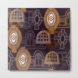 Neighbourhood Windows - orange Metal Print