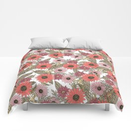 Girly blush pink coral gold modern floral Comforters