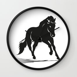 Black silhouette of a running horse Wall Clock
