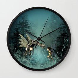 Cute fairy with steam dragon Wall Clock