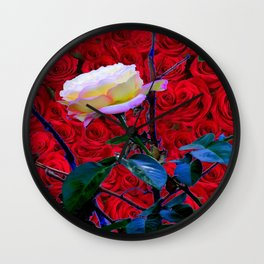 YELLOW ROSE  ON RED ROSES GARDEN ABSTRACT Wall Clock