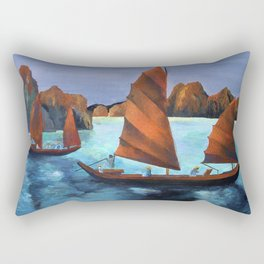 Junks In the Descending Dragon Bay Rectangular Pillow