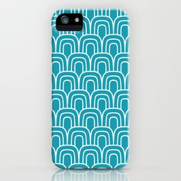 Rainbow Scallop Pattern Turquoise iPhone Case