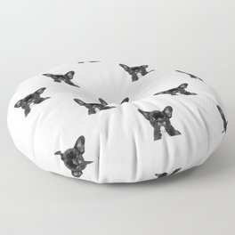 Black and White French Bulldog Floor Pillow