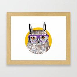 Smart Owl Glasses Portrait Framed Art Print