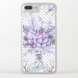 Modern lilac violet lavender polka dots watercolor floral Clear iPhone Case