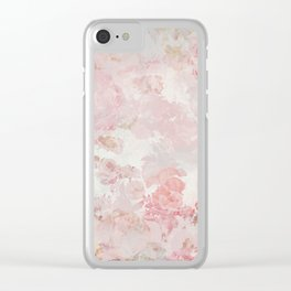 Vintage Floral Rose Roses painterly pattern in pink Clear iPhone Case