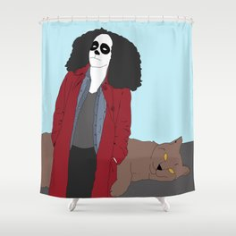 Six and Wolf Cat Shower Curtain