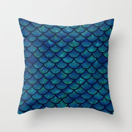 Mermaid scales iridescent sparkle Throw Pillow