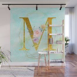 Gold Foil Alphabet Letter M Initials Monogram Frame with a Gold Geometric Wreath Wall Mural