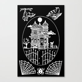 Ominous Victorian House Invert Canvas Print