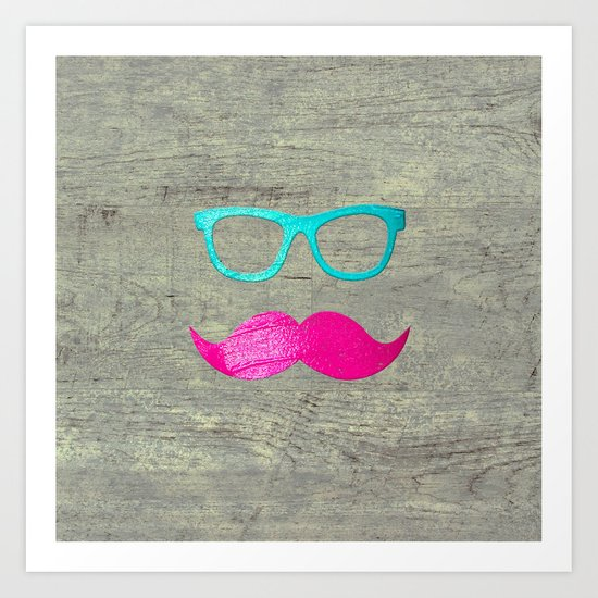 Funny Pink mustache teal hipster glasses wood Art Print