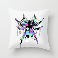 spider Throw Pillows featuring SPIDER by maivisto