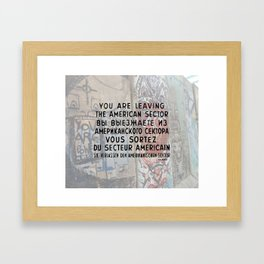 Checkpoint Charlie Signage, Berlin Wall Framed Art Print