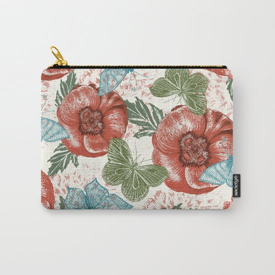 Poppies and Butterflies Pattern Carry-All Pouch