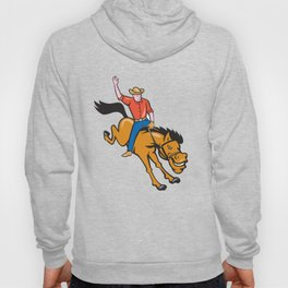 Rodeo Cowboy Riding Bucking Bronco Cartoon Hoody