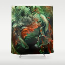 """Betta splendens Deep water (Siam fighter)"" Shower Curtain"