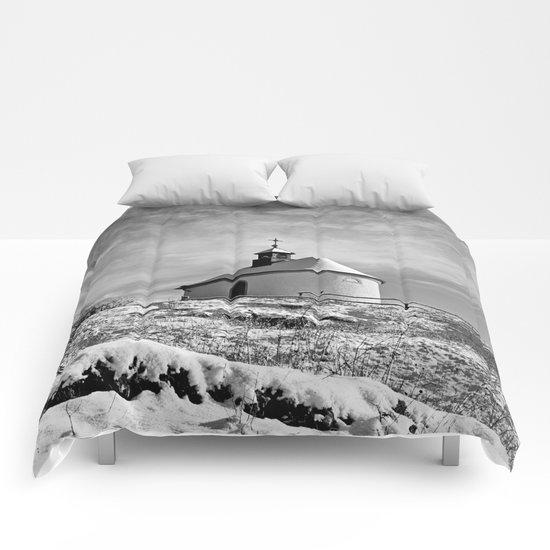 Chapel in the snow (Kleine Kalmit) Comforters