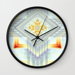 Fractal Art- Religious Cross- Native American- Yellow Art- Illuminative- Orange Art- Wall Clock