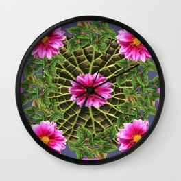 Abstracted Fuchsia Pink Dahlias Stylized Garden Pattern Wall Clock