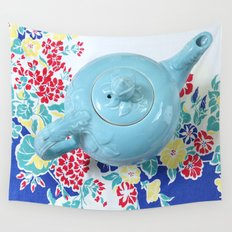 Teapot Blues Wall Tapestry