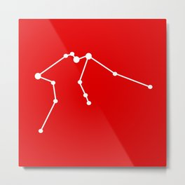 Aquarius (White & Red) Metal Print