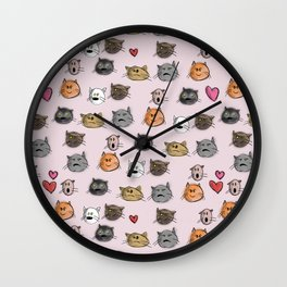 cats pattern pink Wall Clock