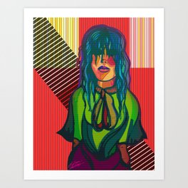 Color Blind - Bright Colorful Surreal Portrait of Woman, Painting Art Print