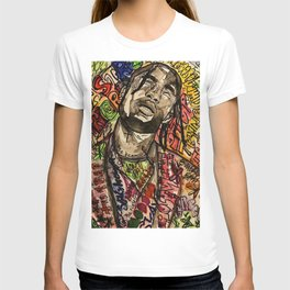La flame,travis,music,hiphop,poster,astro world,tour,wall art,artwork,painting,colourful T-shirt