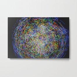 Ball of String Light painting Metal Print