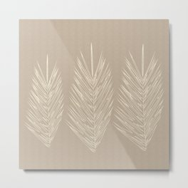 Naturals Cream Linen Palm Leaves Metal Print