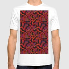 Abstract pattern of intertwined hearts. MEDIUM White Mens Fitted Tee