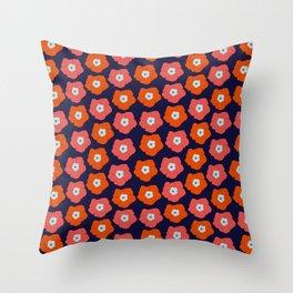 Polka Flowers Throw Pillow