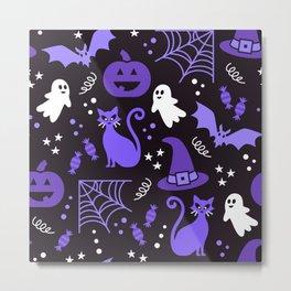 Halloween party illustrations purple, black Metal Print