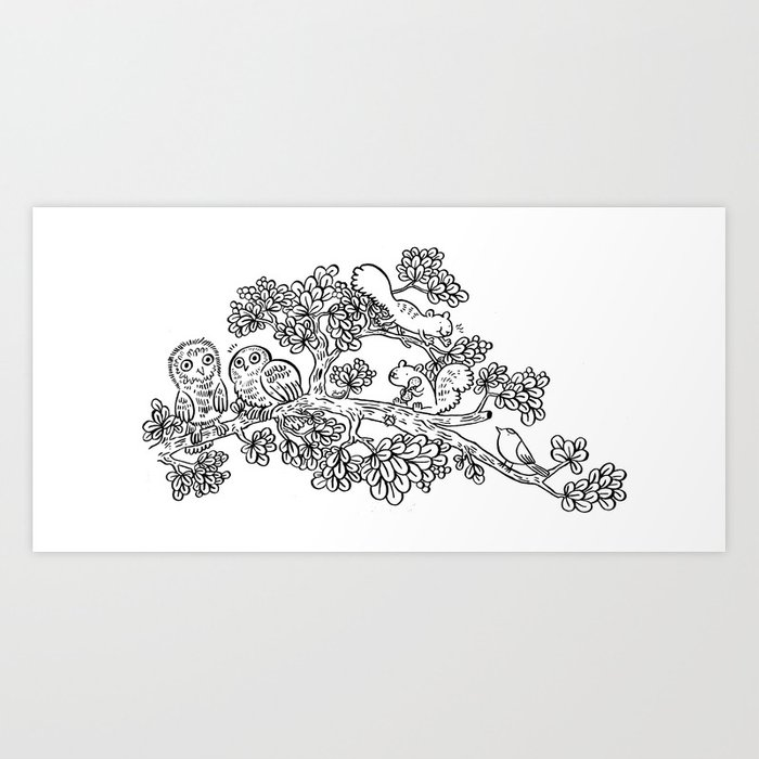 Forest Friends in Foliage Art Print